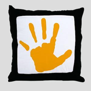Orange Handprint Throw Pillow