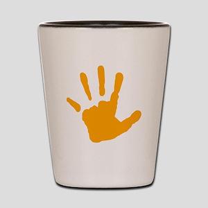 Orange Handprint Shot Glass