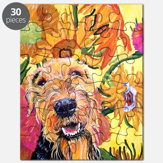 Airedale Terrier Dog Sunflowers Puzzle