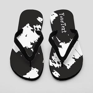 Personalized Custom Text Black White Flip Flops