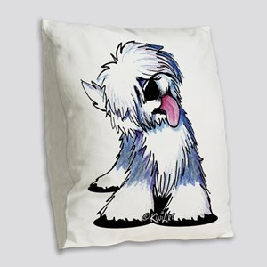 Curious OES Burlap Throw Pillow