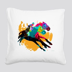 Horse Racing Square Canvas Pillow