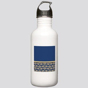 Damask Wallpaper Blue Stainless Water Bottle 1.0L