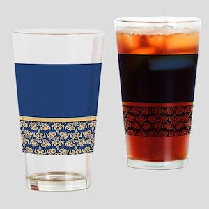 Damask Wallpaper Blue Drinking Glass