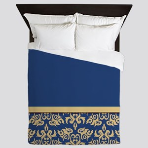 Damask Wallpaper Blue Queen Duvet