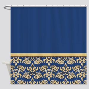 Damask Wallpaper Blue Shower Curtain