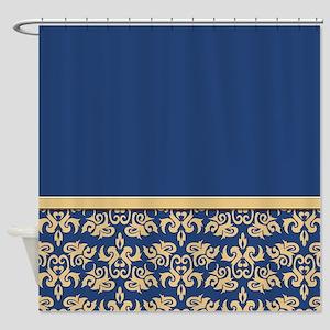Damask Wallpaper Blue Shower Curtain