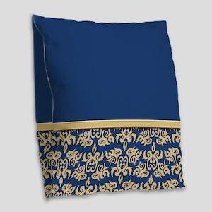 Damask Wallpaper Blue Burlap Throw Pillow