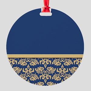 Damask Wallpaper Blue Round Ornament