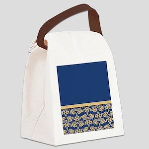 Damask Wallpaper Blue Canvas Lunch Bag