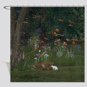 Fawn and Rabbit Shower Curtain