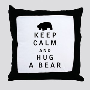 Keep Calm and Hug a Bear Throw Pillow