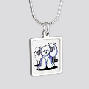 OES Sheepies Silver Square Necklace
