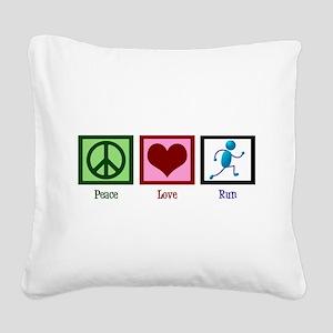 Peace Love Run Square Canvas Pillow