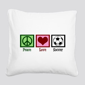 Peace Love Soccer Square Canvas Pillow