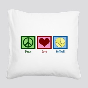 Peace Love Softball Square Canvas Pillow