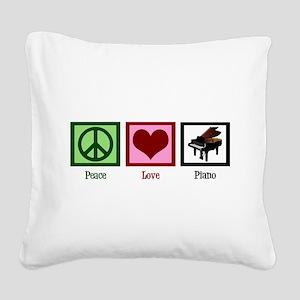Peace Love Piano Square Canvas Pillow