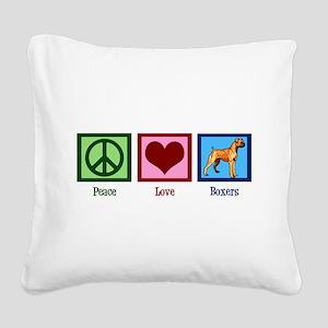 Peace Love Boxers Square Canvas Pillow