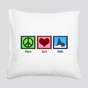Peace Love Seals Square Canvas Pillow