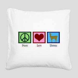 Peace Love Llamas Square Canvas Pillow