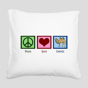 Peace Love Camels Square Canvas Pillow