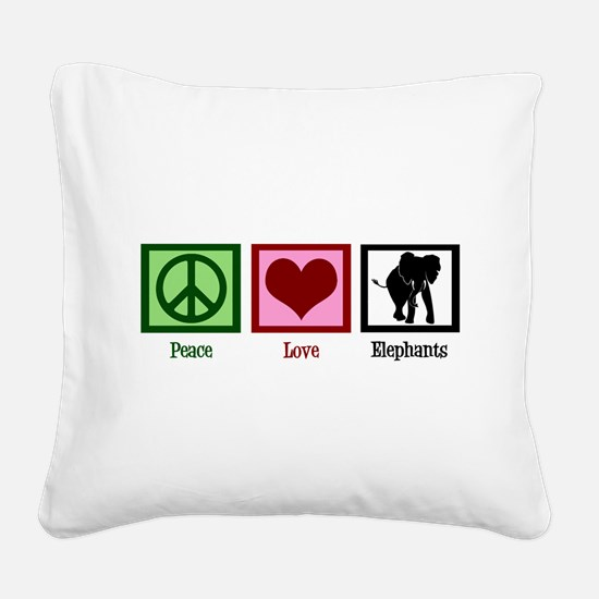 Peace Love Elephants Square Canvas Pillow