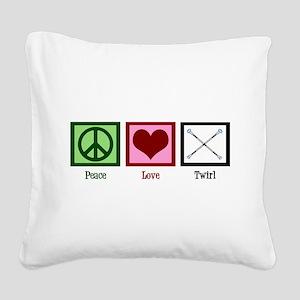 Peace Love Twirl Square Canvas Pillow