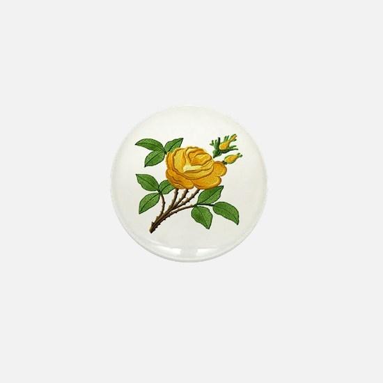 Needlework Yellow Rose Mini Button
