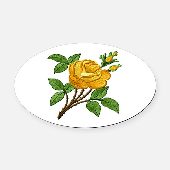 Needlework Yellow Rose Oval Car Magnet