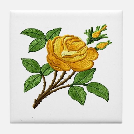 Needlework Yellow Rose Tile Coaster