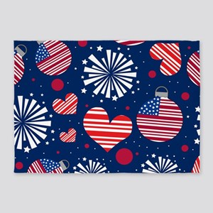 4th of July Pattern 5'x7'Area Rug