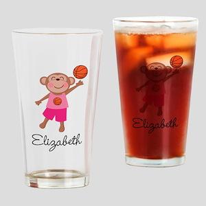 Basketball Girls Monkey Personalized Drinking Glas