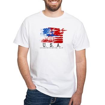 Grunge USA Flag White T-Shirt