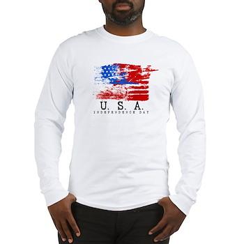 Grunge USA Flag Long Sleeve T-Shirt