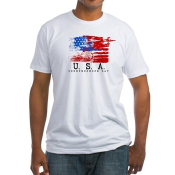 Grunge USA Flag Fitted T-Shirt