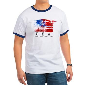 Grunge USA Flag Ringer T-Shirt