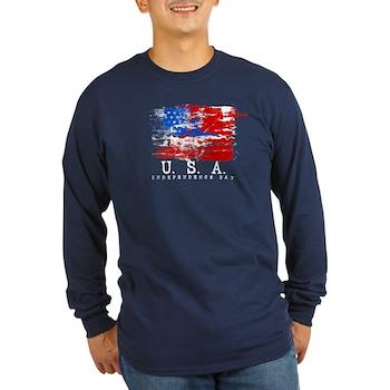 Grunge USA Flag Long Sleeve Dark T-Shirt