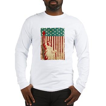 Vintage Style American Flag Long Sleeve T-Shirt
