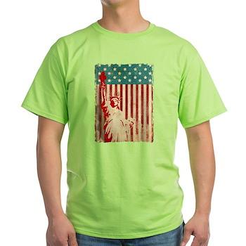 Vintage Style American Flag Light T-Shirt
