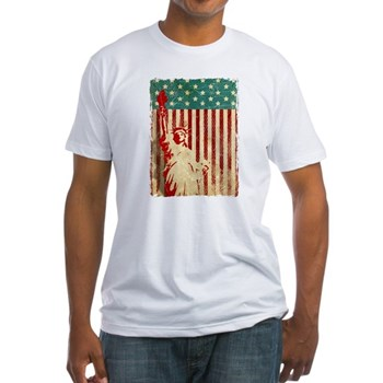 Vintage Style American Flag Fitted T-Shirt