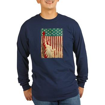 Vintage Style American Flag Long Sleeve Dark T-Shi