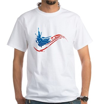 Abstract Paint American Flag White T-Shirt