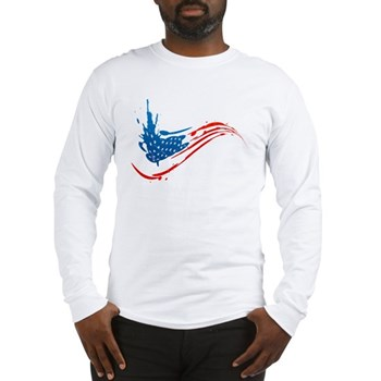 Abstract Paint American Flag Long Sleeve T-Shirt