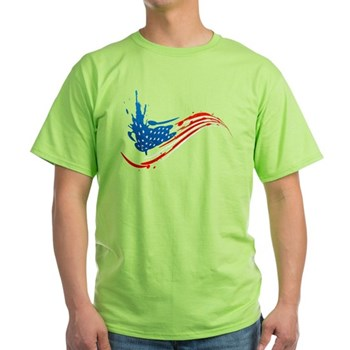 Abstract Paint American Flag Light T-Shirt