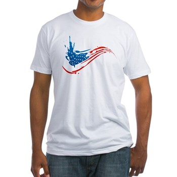 Abstract Paint American Flag Fitted T-Shirt