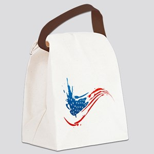 Abstract Paint American Flag Canvas Lunch Bag