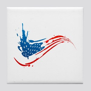 Abstract Paint American Flag Tile Coaster