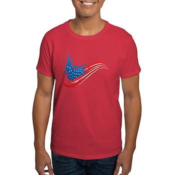 Abstract Paint American Flag Dark T-Shirt