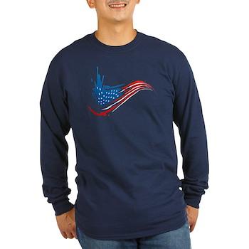 Abstract Paint American Flag Long Sleeve Dark T-Sh