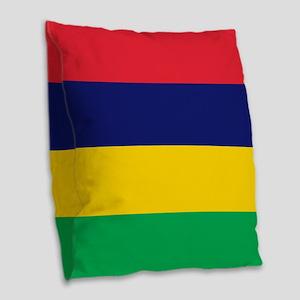 Flag of Mauritius Burlap Throw Pillow